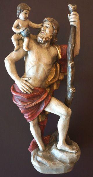Hl Christopherus Imposante Große Figur Holz Geschnitzt Handgeschnitzt 48cm Ant Bild