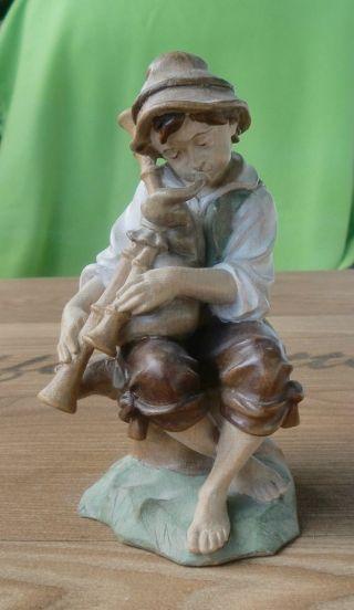 Holz Figur Junge Mit Dudelsack Hirte Schnitzerei Handarbeit 16 Cm Hirte Krippe Bild