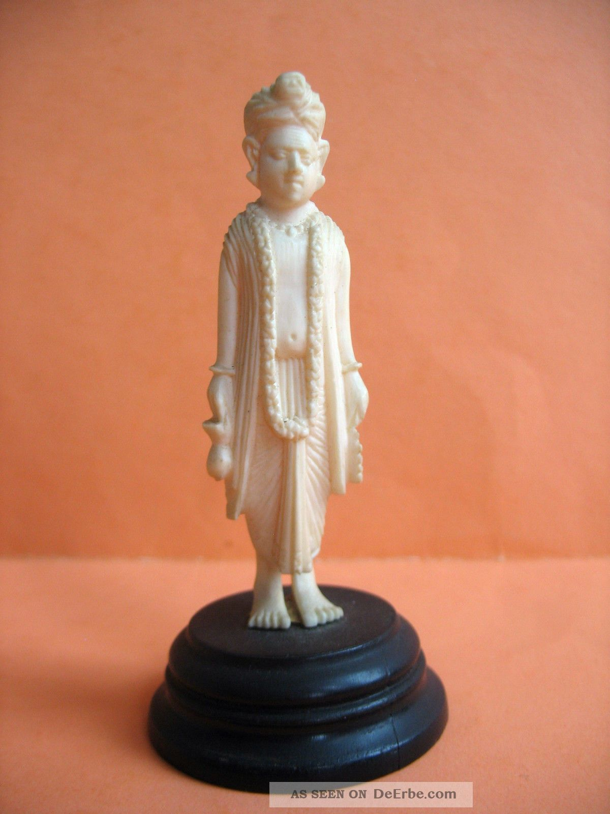 Beinschnitzerei Auf Sockel - Indische Gottheit Beinarbeiten Bild