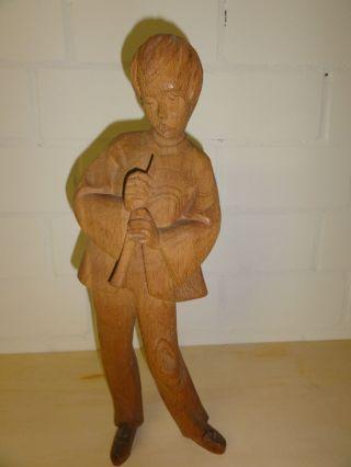 Handgeschnitzte Holzfiguren Josef,  Maria,  Engel,  Flötenspieler Bild