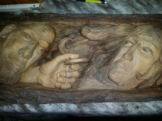 Antikes Wandbild Stamm Holz 3d Relief Schnitzerei Handarbeit Bild
