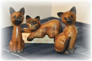 Drei Süße Kätzchen Aus Holz Bild