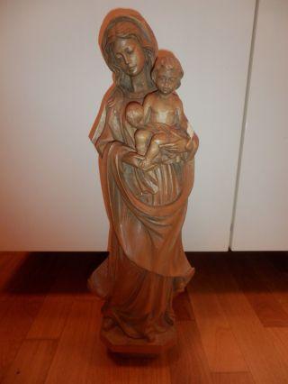 Madonna Mit Jesus / Maria Mit Kind / Holzfigur / Skulptur - 62 Cm Bild