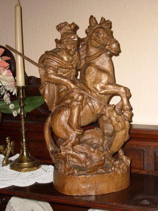 Gr.  Holzfigur - Heiligenfigur - Heiliger Georg - Drachentöter - Geschnitzt - 42cm - Deko Bild