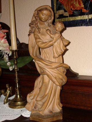 Holzfigur - Heiligenfigur - Madonna Mit Kind - Allgäu - Geschnitzt - Deko - Bild