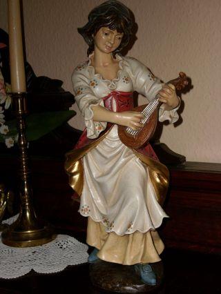 Holzfigur - Heiligenfigur - Mädchen Mit Laute - Bunt - Geschnitzt - Südtirol ? - Deko Bild