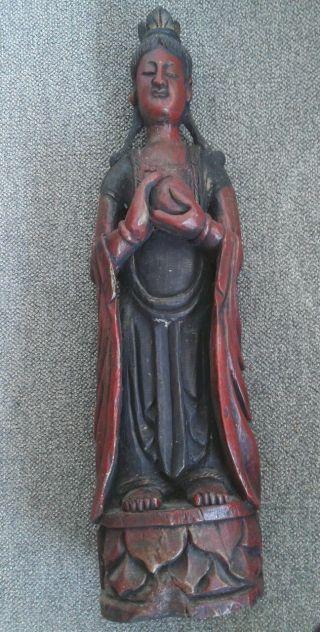 Großer Asiat Alte Holzfigur Figur Künstlerische Handarbeit Bild
