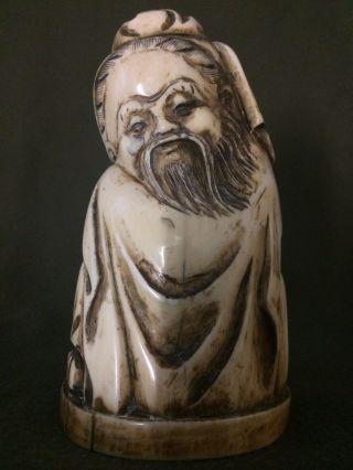 Wunderschöne Grosse Figur Beinarbeit Beinschnitzerei China 19.  Jhdt Bild