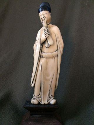 Wunderschöne Grosse Figur Beinarbeit Beinschnitzerei China 18/19.  Jhdt Bild