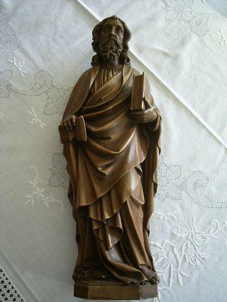 Alte Holzfigur Ca 43 Cm Geschnitzt Apostel Matthias Sign.  Josef Fink Köln 1897 Bild