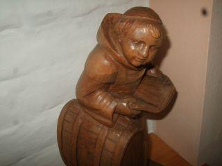 Grosse Holzfigur Mönch Handgeschnitzt Bücherstütze Massiv Blickfang Bild