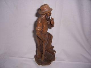 Kleine Holzfigur Mann Pfeife,  Schnitzarbeit,  25 Cm Hoch Bild