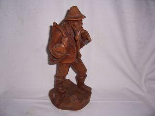 Kleine Holzfigur Mann Pfeife Werkzeug,  Schnitzarbeit,  26 Cm Hoch Bild
