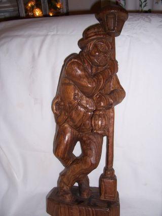 Große Holzfigur Mann Stehend Laterne,  Schnitzarbeit,  Ca.  50 Cm Bild