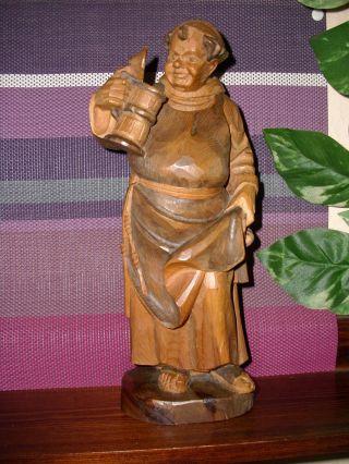 Holzfigur - Heiligenfigur - Mönch - Mit - Krug - Pater - Franziskaner - Geschnitzt - Deko - Bild