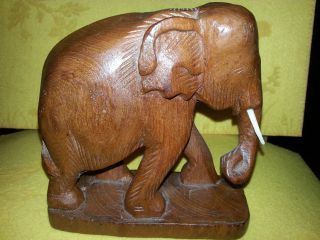 Holzelefant - Elefant Aus Teak Holz - Handarbeit,  Ca.  15 Cm X15cm - Antik - Tierfigur - Deko Bild