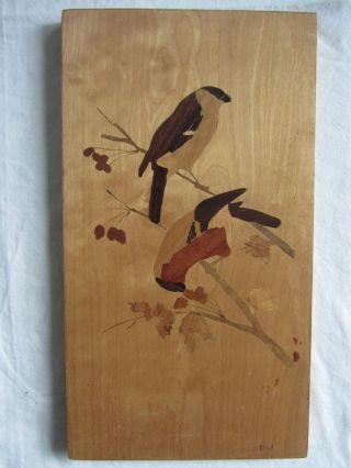 3 Intarsienbilder,  Holzbilder,  Einlegearbeiten,  Intarsien, Bild