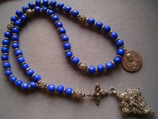Alter Silber Filigraner Rosenkranz Mit Blau Gefäbten Bein / Knochen Perlen Bild