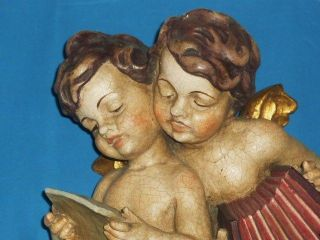 Große Holzschnitzerei 36 Cm. ,  2 Engel Musizierend,  Südtirol Selten Bild