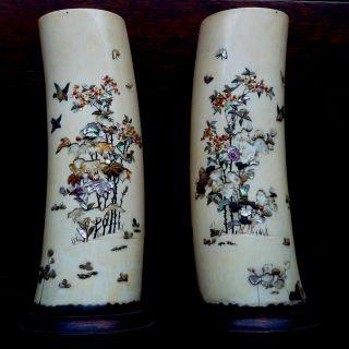 2 Sehr Alte Bein - Vasen - Intarsien - Signiert - SammlerstÜck - über 100 Jahre - Selten Bild