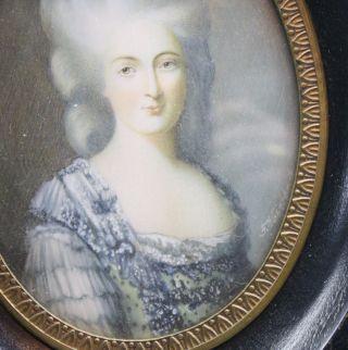 Sehr Feine Miniatur Auf Bein Gemalt Signiert Um 1900 Schöne Herrschaftliche Dame Bild