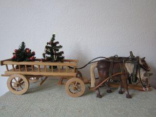 Pferdegespann Holz Unikat Mit Heu Wagen Deko Pferdewagen Z.  B.  Für Gastronomie Bild