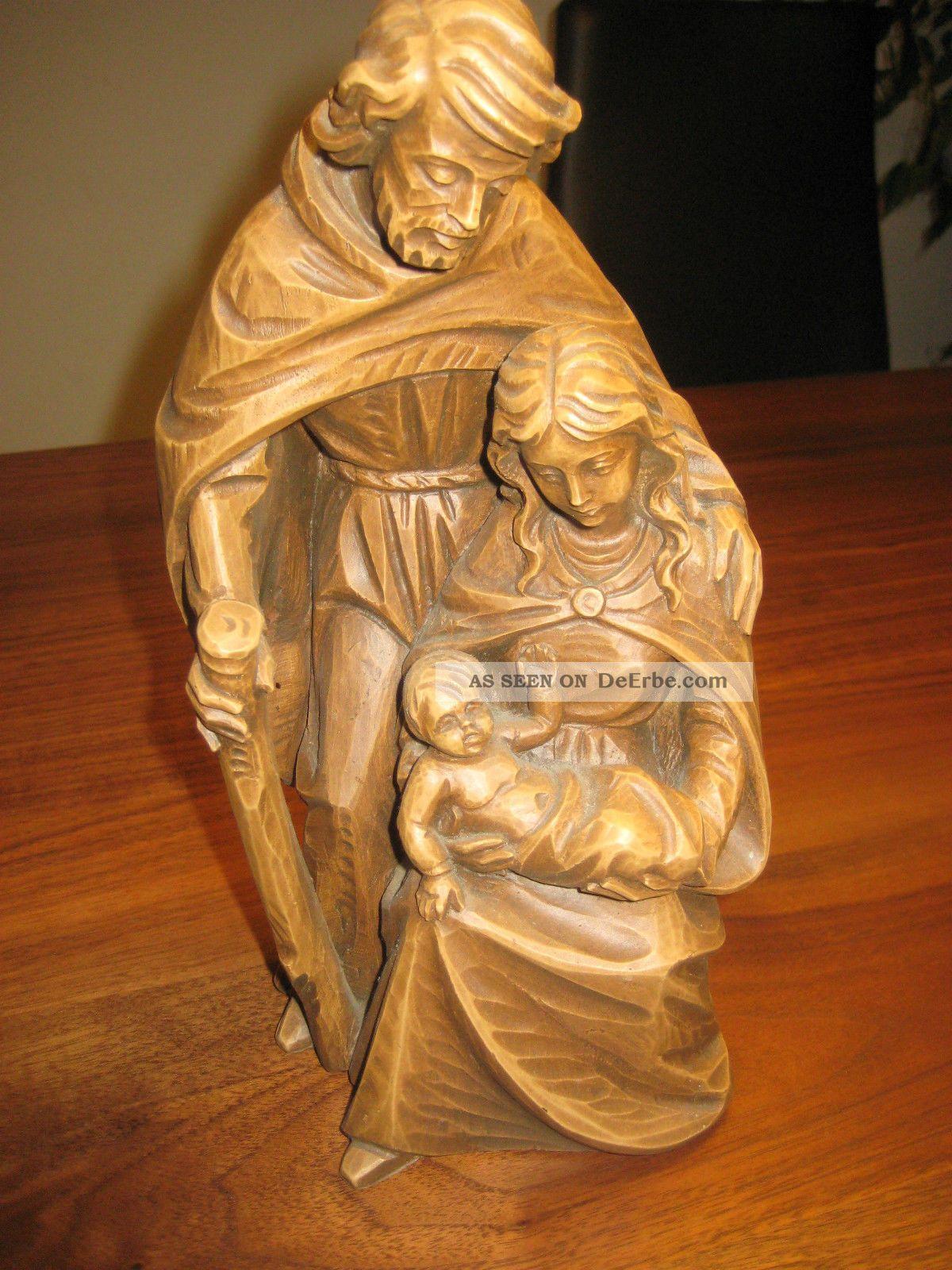 Antike Holzgeschnitzte Madonna; Josef Mit Kind Geschätzt Auf Um 1900 Größe 26cm Holzarbeiten Bild
