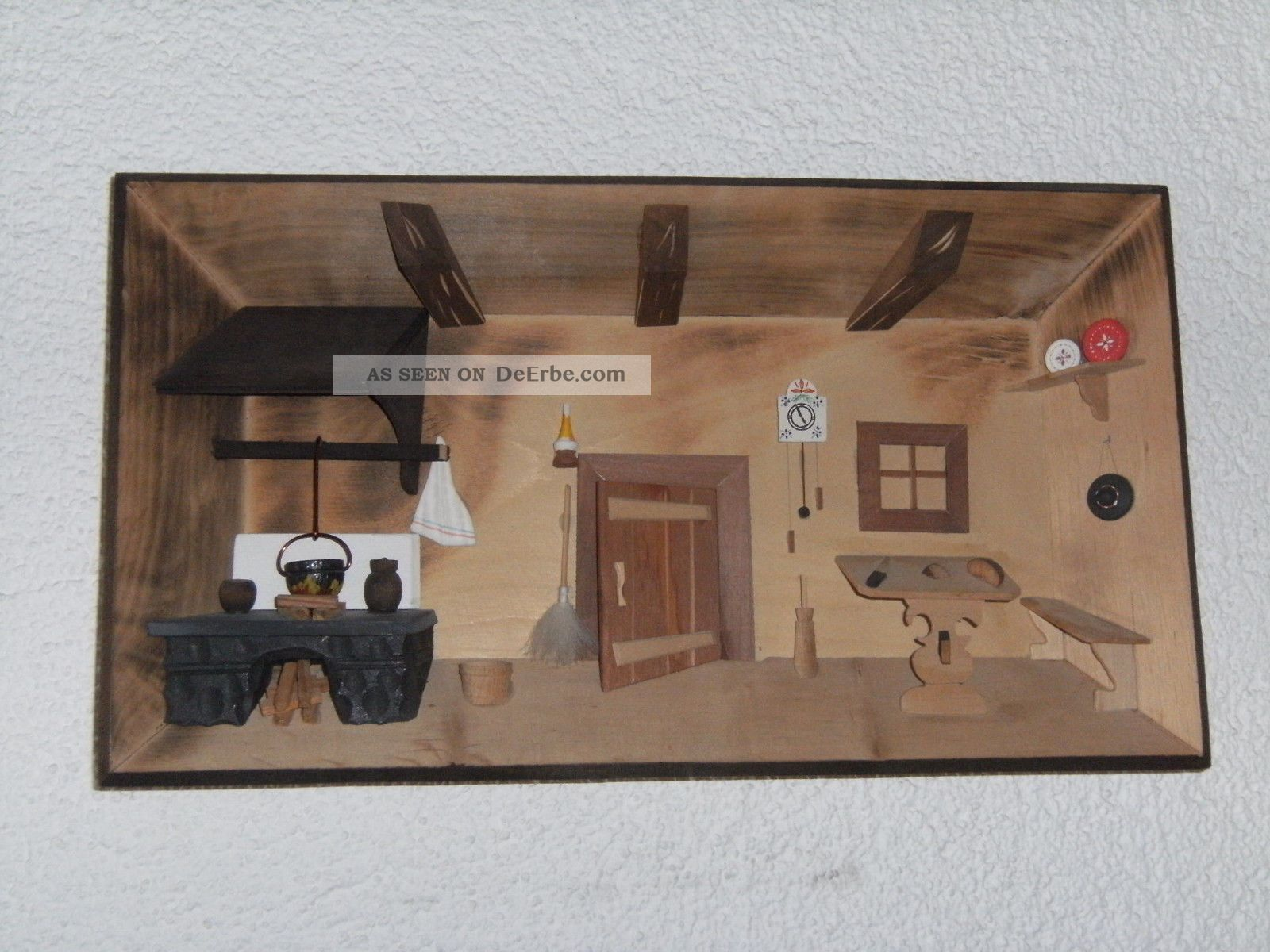 Großes Holzbild 29cm X 22cm 3d Wandbild Bauernstube Stube Folklore Holzarbeiten Bild