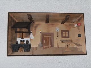 Großes Holzbild 29cm X 22cm 3d Wandbild Bauernstube Stube Folklore Bild