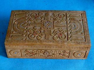 Antike Russische Holz - Schatulle,  1900,  Kerbschnitzerei,  Wunderschön,  Sehr Rar Bild