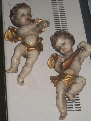 2 X Holz Engel / Putto Engel Geschnitzt Bild
