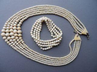 Antike Bein Kette Perlen Collier Fünfreihig,  Armband Vierreihig Bild