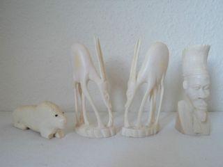 4 Bein Figuren 2 Antilopen Löwe Afrikaner Gesamtgewicht 0,  552 Kg Bild