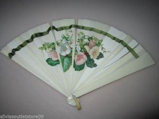 Antiker Fächer Aus Bein Mit Handgemalten Rosendekor Um 1910 Jugendstil Bild