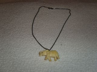 Alter Anhänger Elefant Aus Bein Mit Kette 925er Silber Bild