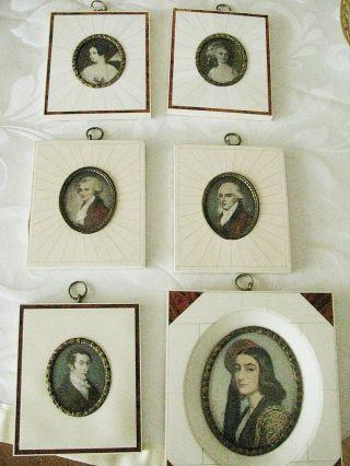 Schöne Alte Miniaturbilder Aus Bein,  Lupenmalerei,  Rechteckig Bild