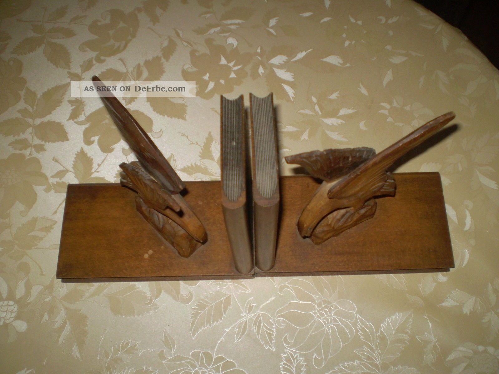 2 buchst tzen holz handarbeit geschnitzt adler alt. Black Bedroom Furniture Sets. Home Design Ideas