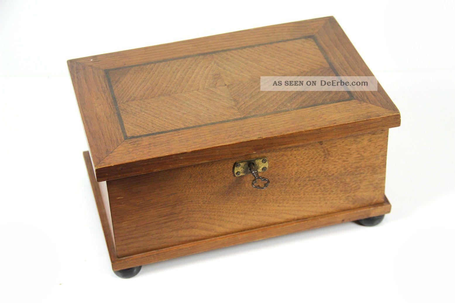 alte holz schmuckschatulle intarsien schatulle mit einsatz schachtel kiste 26 cm. Black Bedroom Furniture Sets. Home Design Ideas