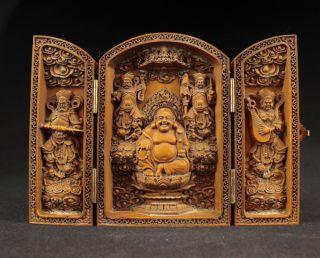 Schöne Buddha Skulpturen Box,  Buchsbaum Box Wood,  China Selten Bild