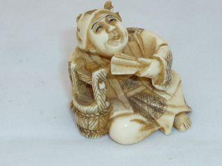 Netsuke Wasserträger Japan Meiji - Periode 19tes Jh.  Bein Geschnitzt Signiert Bild