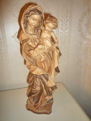 Alte Skulptur Madonna Mit Kind,  Holz Geschnitzt,  Marien Statue,  Nachlass Bild