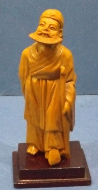 Chinesischer Weiser Konfuzius - Kleine Geschnitzte Holzskulptur - Made In China Bild