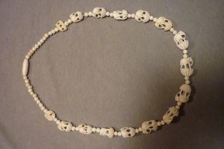 Antike Kette Aus Echtem Bein Mit Kleinen Elefanten Halskette Bild