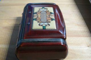 Antike Schnupftabakdose Holz Tabak Lackdose Stein Mit Intarsien Vor 1900 Museal Bild