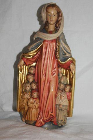 Holz Geschnitzte Heiligenfigur Mit Umhang Gold Und Bunt Gefasst L Bild