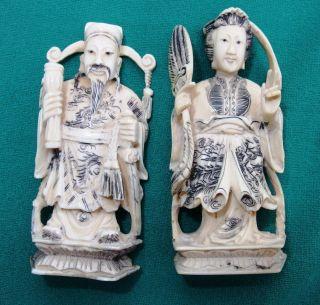 Figurenpaar Kanton Quing Dynastie Vor 1900 Bild