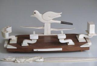 Bein Beinarbeiten Schreibtischgarnitur Tintenfaß Schreibzeug Brieföffner Artdeco Bild