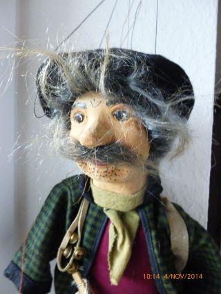 Alte Marionette Aus Holz Alter Händler Straßenhändler Handgeschnitzt Bild