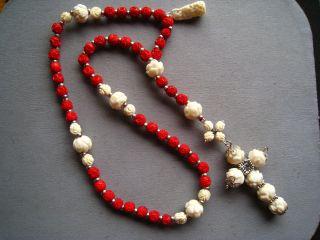 Alter Rosenkranz Komplett Aus Echten Roten Und Weißen Bein Perlen,  1 Einhänger Bild
