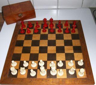 Rar Jugendstil Schachfiguren Aus Bein In Kirschbaumschatulle Um 1910 Bild